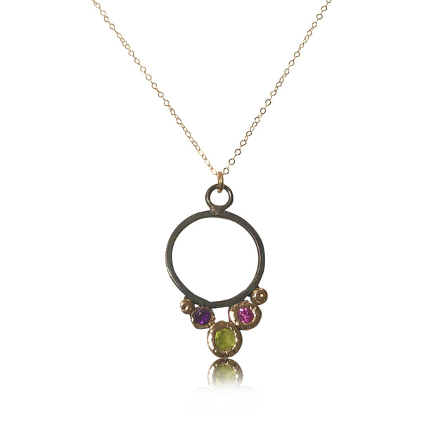 "NAMM3-""Stormy Brilliance"" 14KT Gold and Oxidized Sterling Silver w Gemstones"