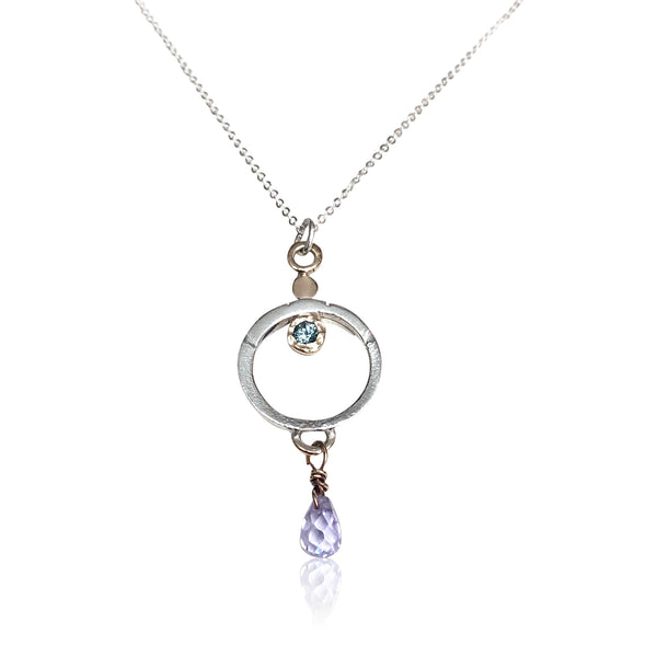 "NAMM6-""Silver Lining Necklace"" 14KT Gold and Sterling Silver w Gemstones"