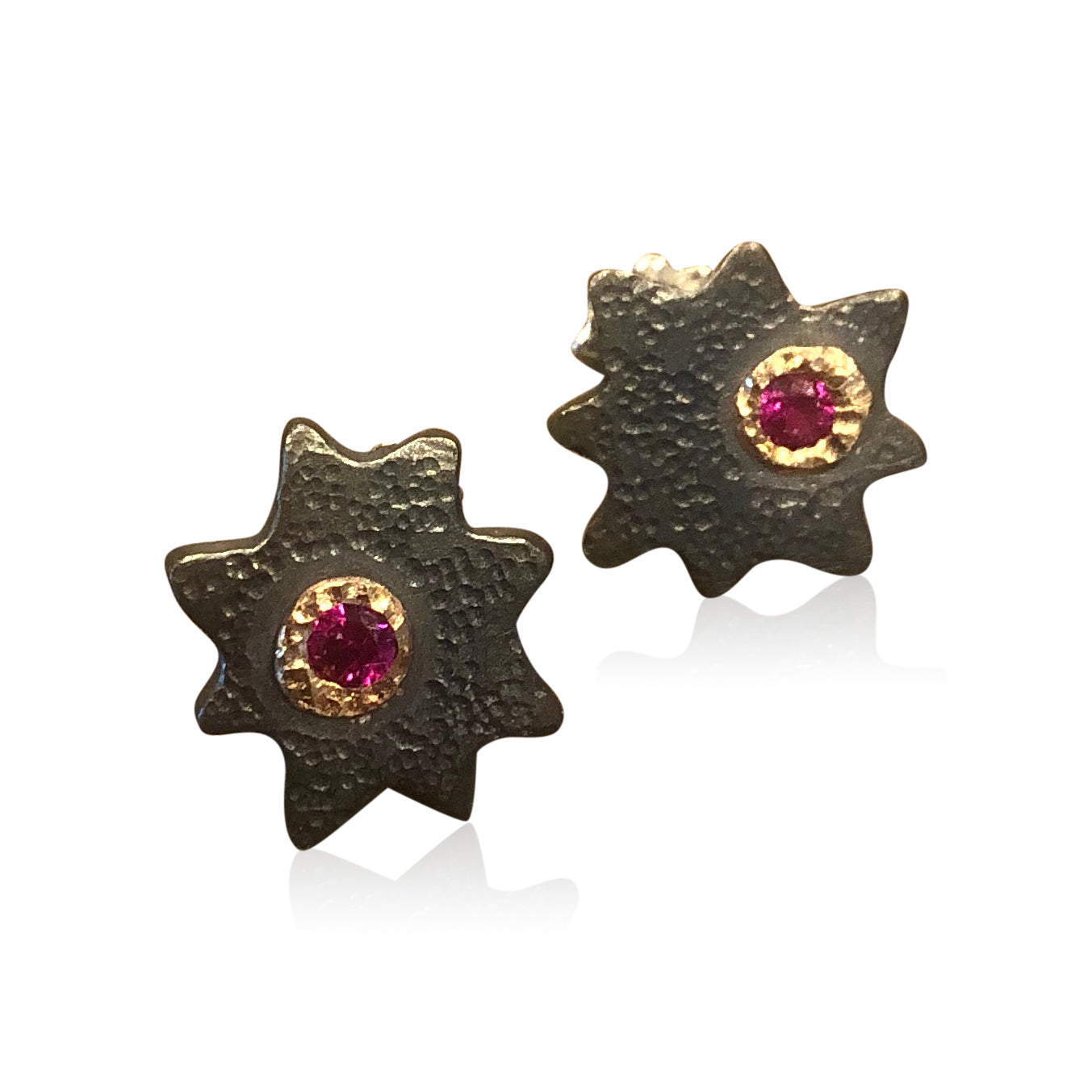 "E8 - ""Super Star Earrings"" Oxidized Sterling Silver Star Earrings w 14KT Bezeled Rubies"
