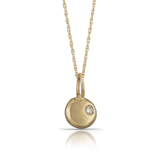 "14kt Gold Button Necklace w Diamond. 1/4"" Button; 16"" Chain"