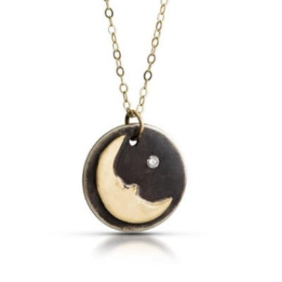 "NAMM9 - ""Man in the Moon"" Oxidized Sterling Silver w 14KT Gold Moon w Diamond. 16"" Gold Chain"