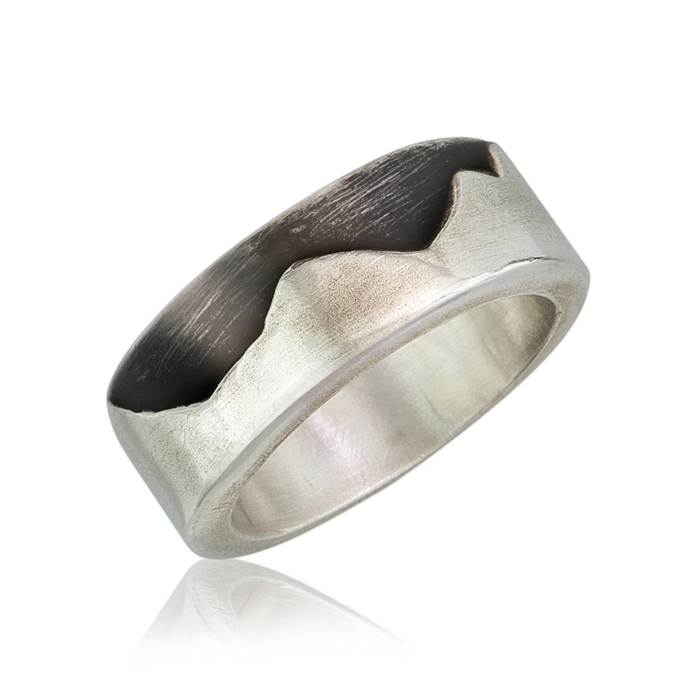 Sterling Silver Wide Band Mountain Ring. Custom Sizing; Price May Vary