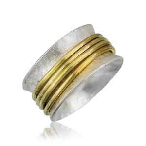 SR3 - Custom Sterling Silver and Brass Spinner Ring. Custom Size; Price May Vary