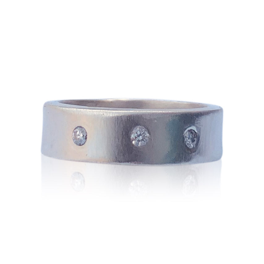 R6 - Three Diamond Sterling Matte Silver Wide-Band Ring