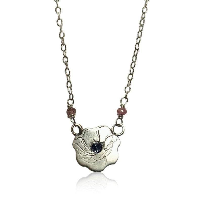 "NBS - ""Poppy Passion"" Sterling Silver Etched Poppy with Ruby and Tourmaline. 16"""