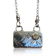 NS7 -My Little Mountain Sterling Silver Necklace w 14KT Gold Sun