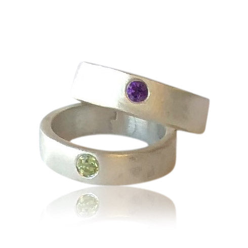 R3 - Custom Sterling Silver Birthstone/Mom Ring. Price May Vary