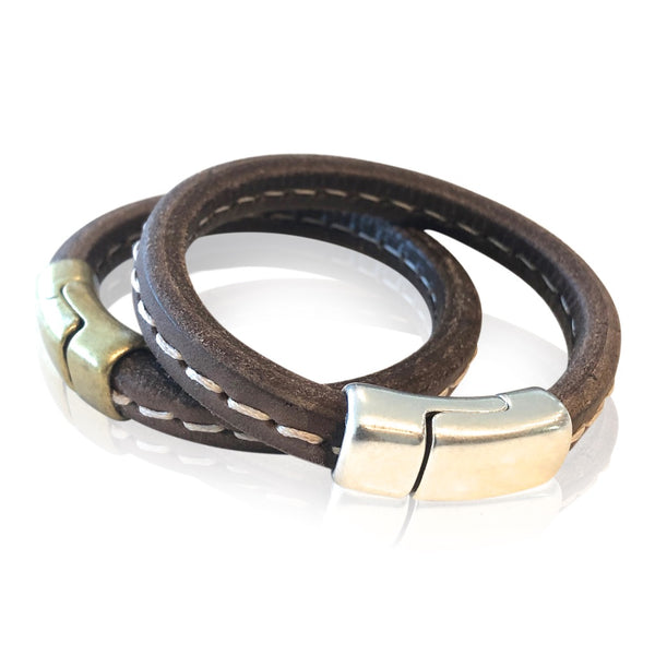 BR8 BRST - Stitched Brown Leather Bracelet with Round Magnetic Clasp