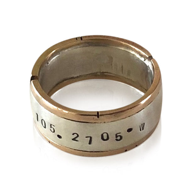 R9 Sterling Silver and 14kt Gold Coordinates Ring