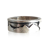 R9 - Sterling Silver Wide Band Framed Mountain Ring w Texture. Custom Sizing; Price May Vary
