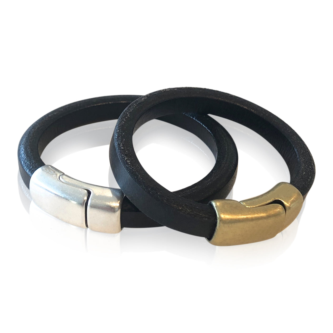 BR1 BK - Black Leather Bracelet with Round Magnetic Clasp