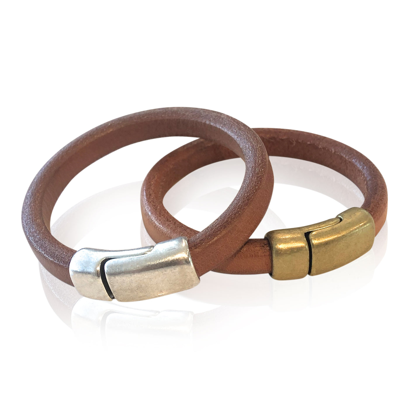 BR3 NAT - Dark Natural Leather Bracelet with Round Magnetic Clasp