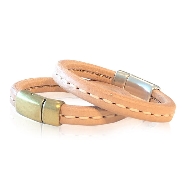 BR9 NATST - Stitched Natural  Leather Bracelet with Round Magnetic Clasp