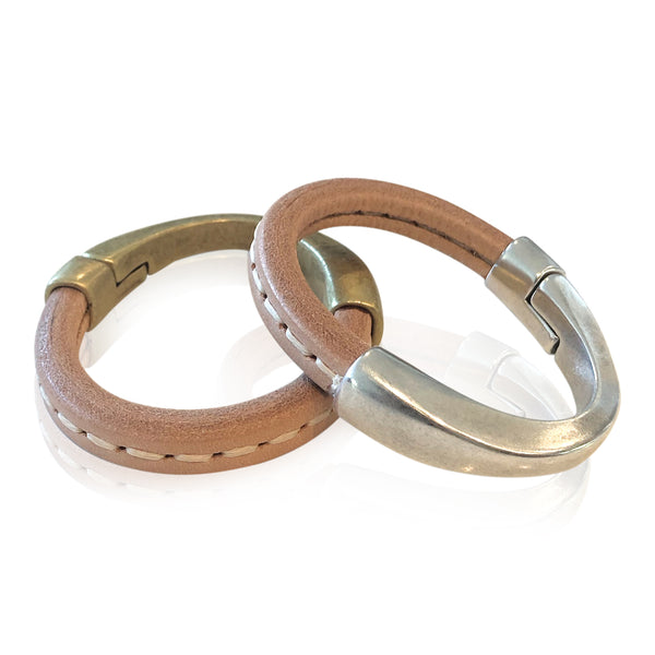 BA8 NATST - Stitched Natural  Leather Bracelet with Arc Magnetic Clasp