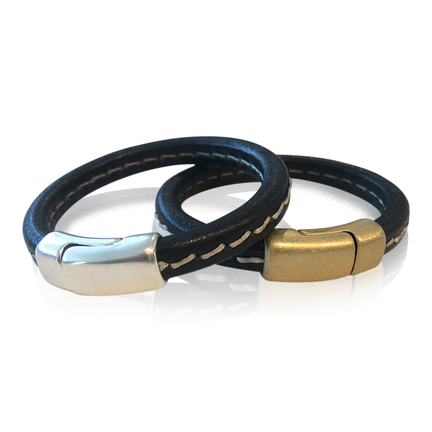 BR7 BKST - Stitched Black Leather Bracelet with Round Magnetic Clasp