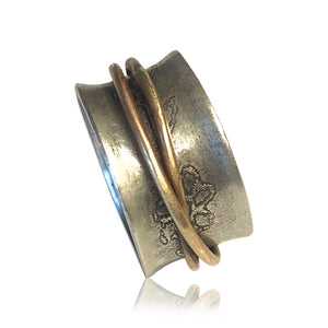 SR2 - Custom Sterling Silver Flower Etched with Brass Spinner Ring. Price May Vary