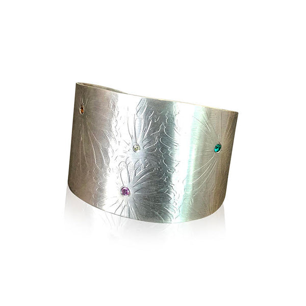 CB14 - Sterling Silver Wide Cuff Bracelet w Flower Texture and Gemstones