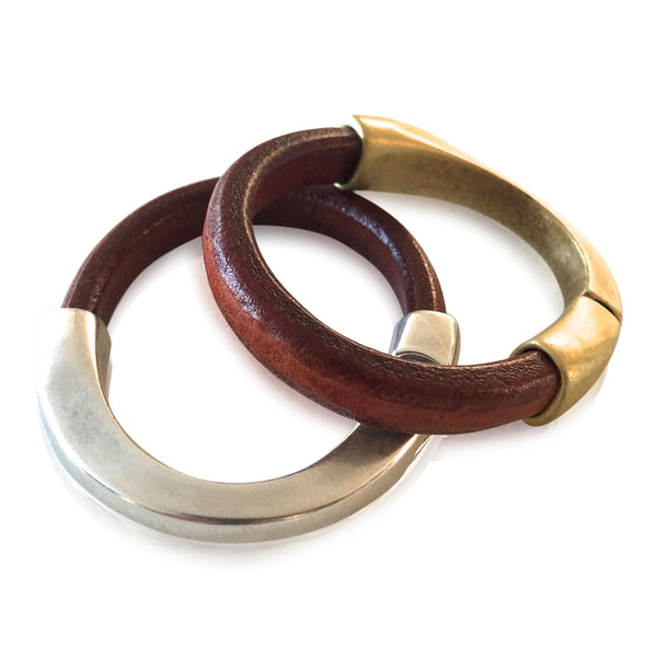 BA3 LUG - Luggage Colored Leather Bracelet with Arc Magnetic Clasp