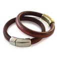 BR4 LUG - Luggage Colored Leather Bracelet with Round Magnetic Clasp