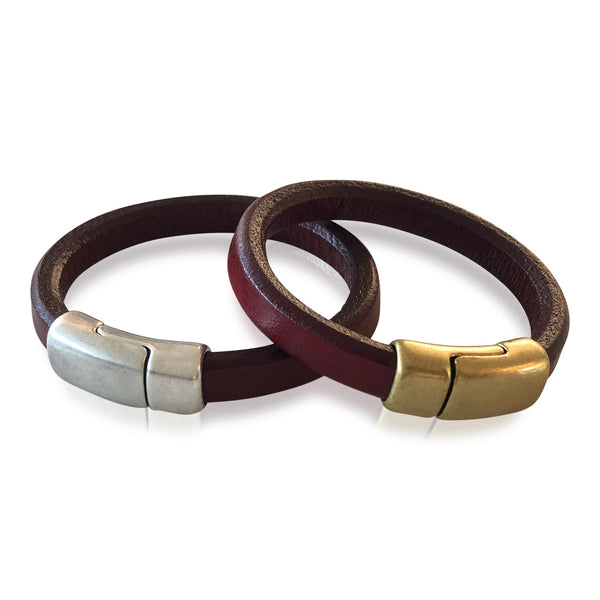 BR6 RED - Red Leather Bracelet with Round Magnetic Clasp