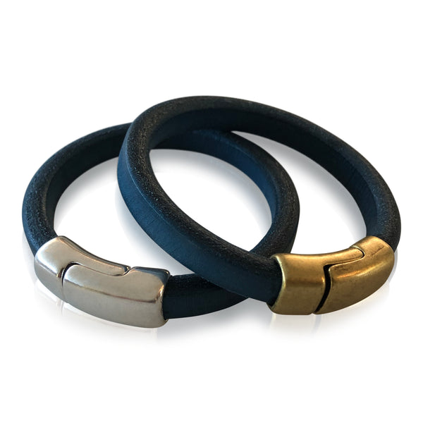 BR2 BL - Blue Leather Bracelet with Round Magnetic Clasp
