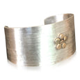 CB16 - Sterling Silver Textured Wide Cuff Bracelet w 14KT Gold Flower Motif