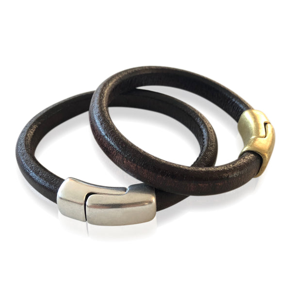 BR5 MAH - Mahogany Leather Bracelet with Round Magnetic Clasp