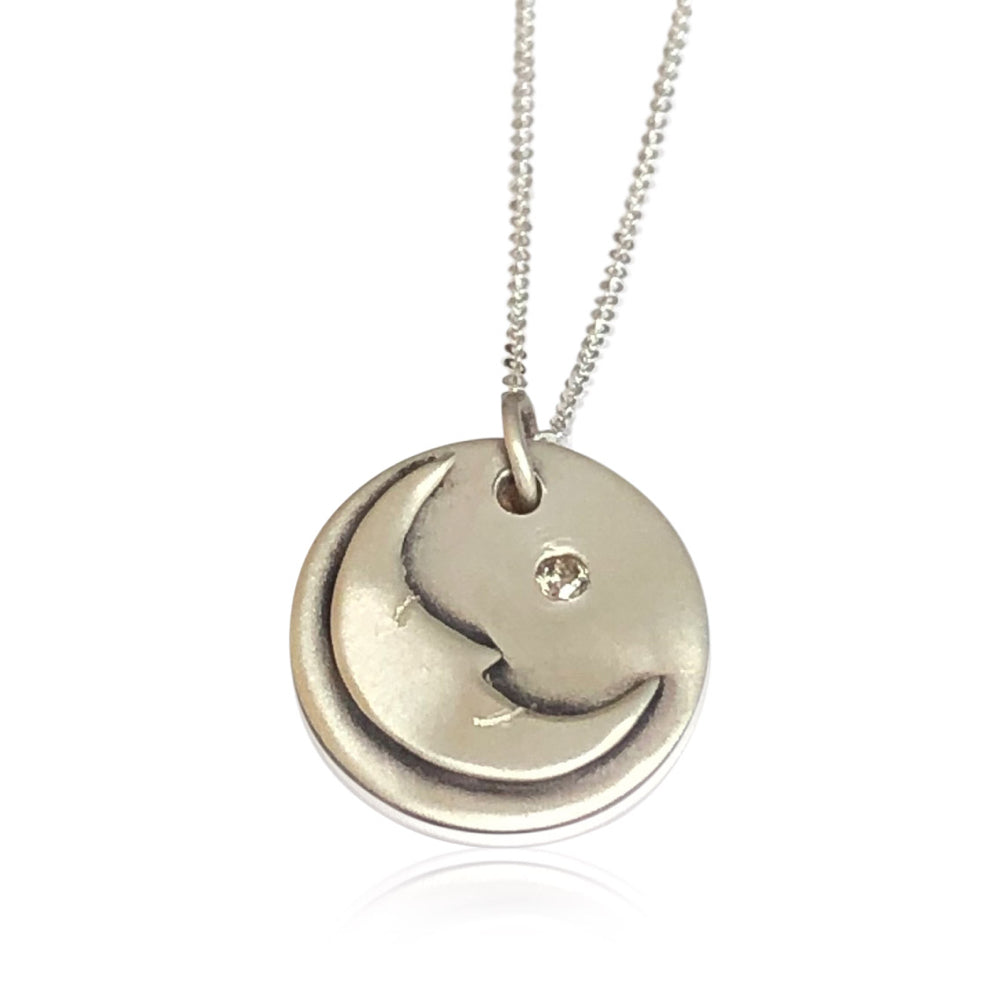 "NS6 - Sterling Silver Man in the Moon Necklace w Diamond. 3/4"" Disc; 16"" SS Chain"