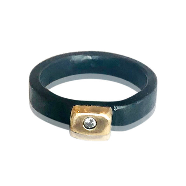 Custom Oxidized Sterling Silver Ring w 14KT Gold and Diamond. Price May Vary