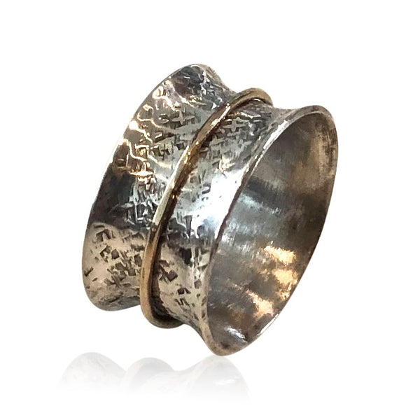 SR1 - Custom Sterling Silver and 14KT Gold Hammered Spinner Ring, Custom Size; Price May Vary