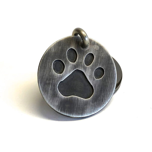 Sterling Silver Paw Print Key Ring