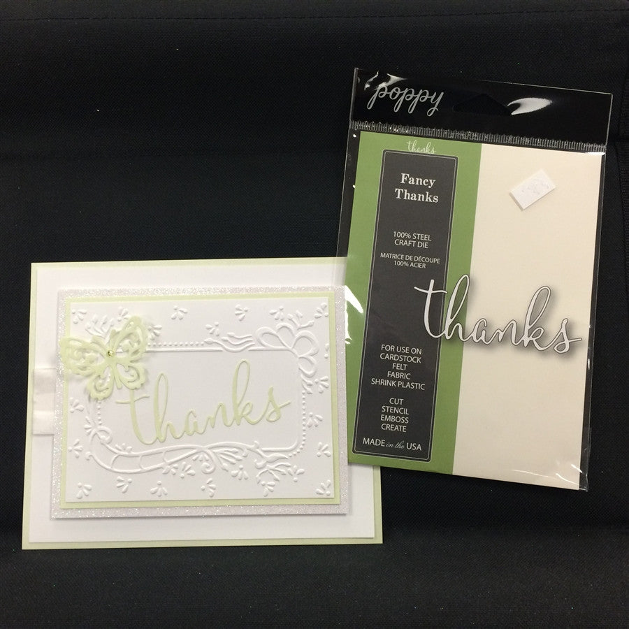 FANCY THANKS word die by POPPY STAMPS 1118 - Inspiration Station Scrapbook Store & Retreat