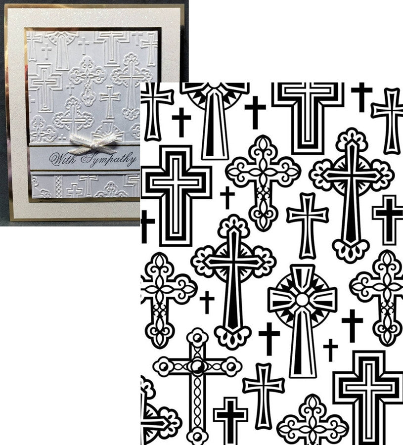 CROSSES Embossing Folder By DARICE 1219-106 - Inspiration Station Scrapbook Store & Retreat