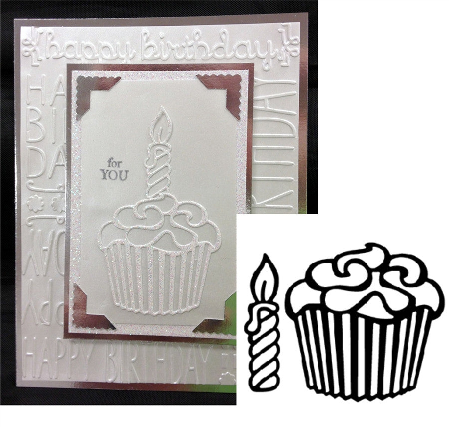Cupcake and Candle Thin Metal Die by Serendipity Stamps 012ED - Inspiration Station Scrapbook Store & Retreat