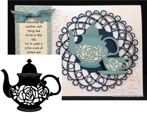 Rose Teapot Metal Die Cut by Serendipity Cutting Dies - Inspiration Station Scrapbook Store & Retreat
