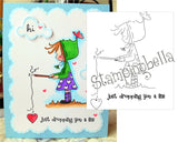 Ramona Fishing Rubber Stamp by Stamping Bella - Inspiration Station Scrapbook Store & Retreat