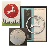 REINDEER SCALLOPED CIRCLE FRAME metal die by Memory Box dies 99502