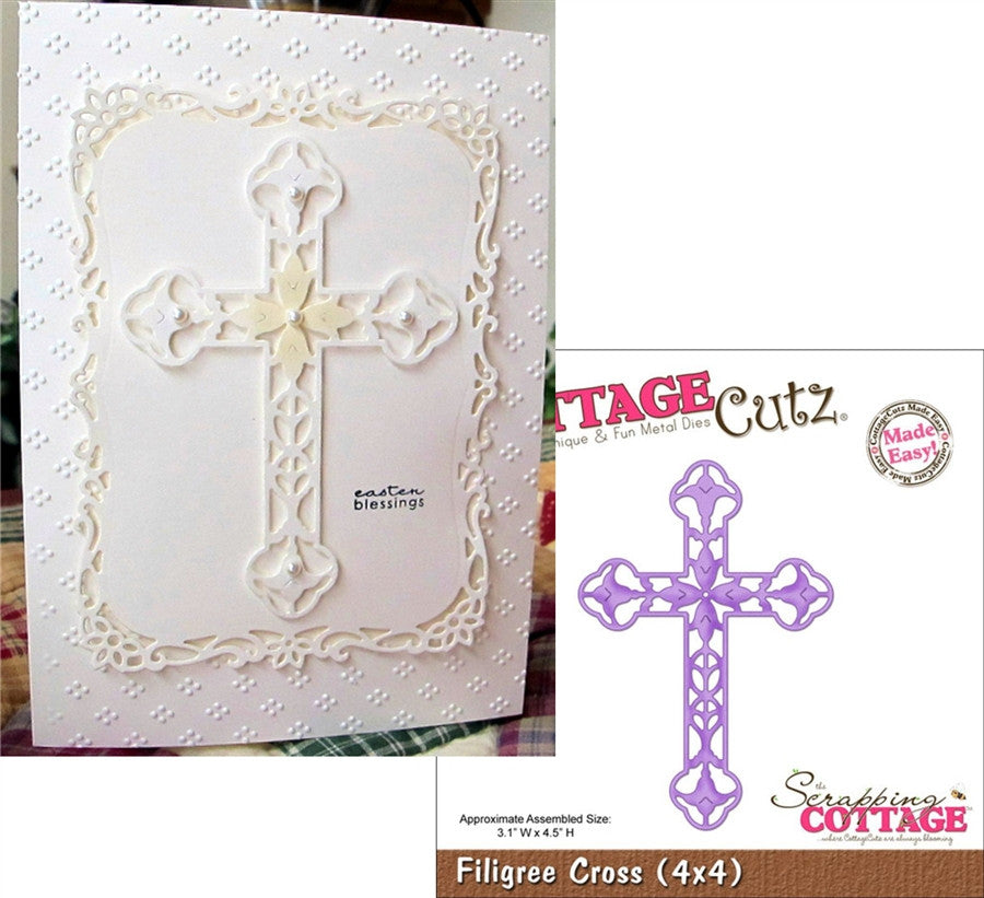 Filigree Cross Metal Die Cut By Cottage Cutz - Inspiration Station Scrapbook Store & Retreat