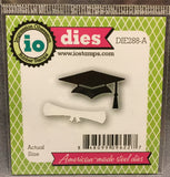 Graduation Mortar board and Scroll metal die by Impression Obsession DIE288-A