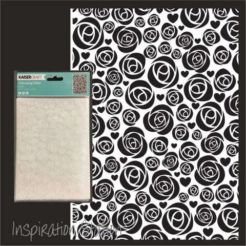 Inspiration Station Roses embossing folder by Kaisercraft embossing folders EF207 5x7