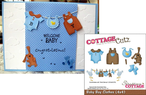 Baby Boy Clothes metal die by Cottage Cutz CC4X4-492 - Inspiration Station Scrapbook Store & Retreat