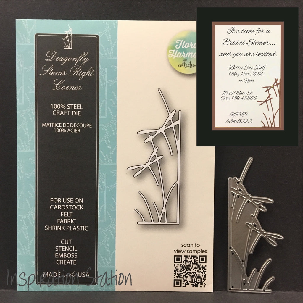Dragonfly Stems Right Corner metal die by Memory Box dies 99710