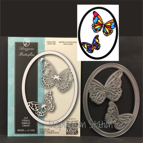 Inspiration Station Avezzano Butterflies frame metal die by Memory Box dies 99723