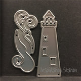 Oceanside Lighthouse and Waves metal die by Memory Box dies 99736