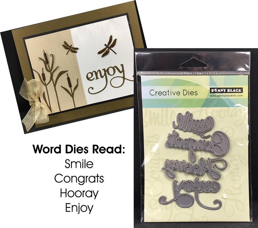 HOORAY Metal Word Die Cut Set by PENNY BLACK 51-038 - Inspiration Station Scrapbook Store & Retreat