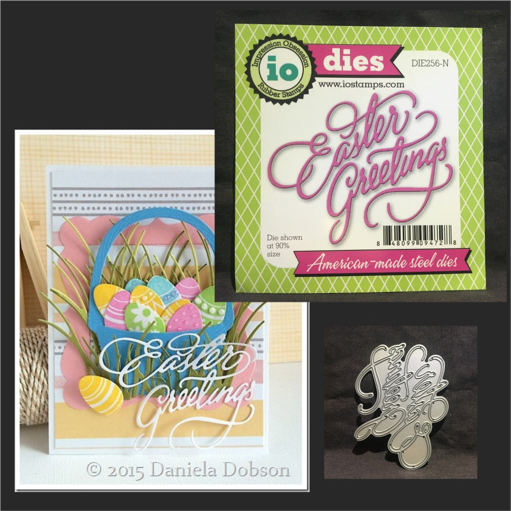 Easter Greetings metal craft die words by Impression Obsession DIE256-N