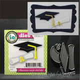 Mortarboard and Scroll 2 metal dies by Impression Obsession DIE281-D
