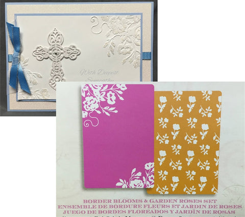 BORDER BLOOMS & GARDEN ROSES Embossing Folder Set by Brenda Walton for SIZZIX 659625 - Inspiration Station Scrapbook Store & Retreat