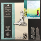 Inspiration Station Oceanside Lighthouse and Waves metal die by Memory Box dies 99736