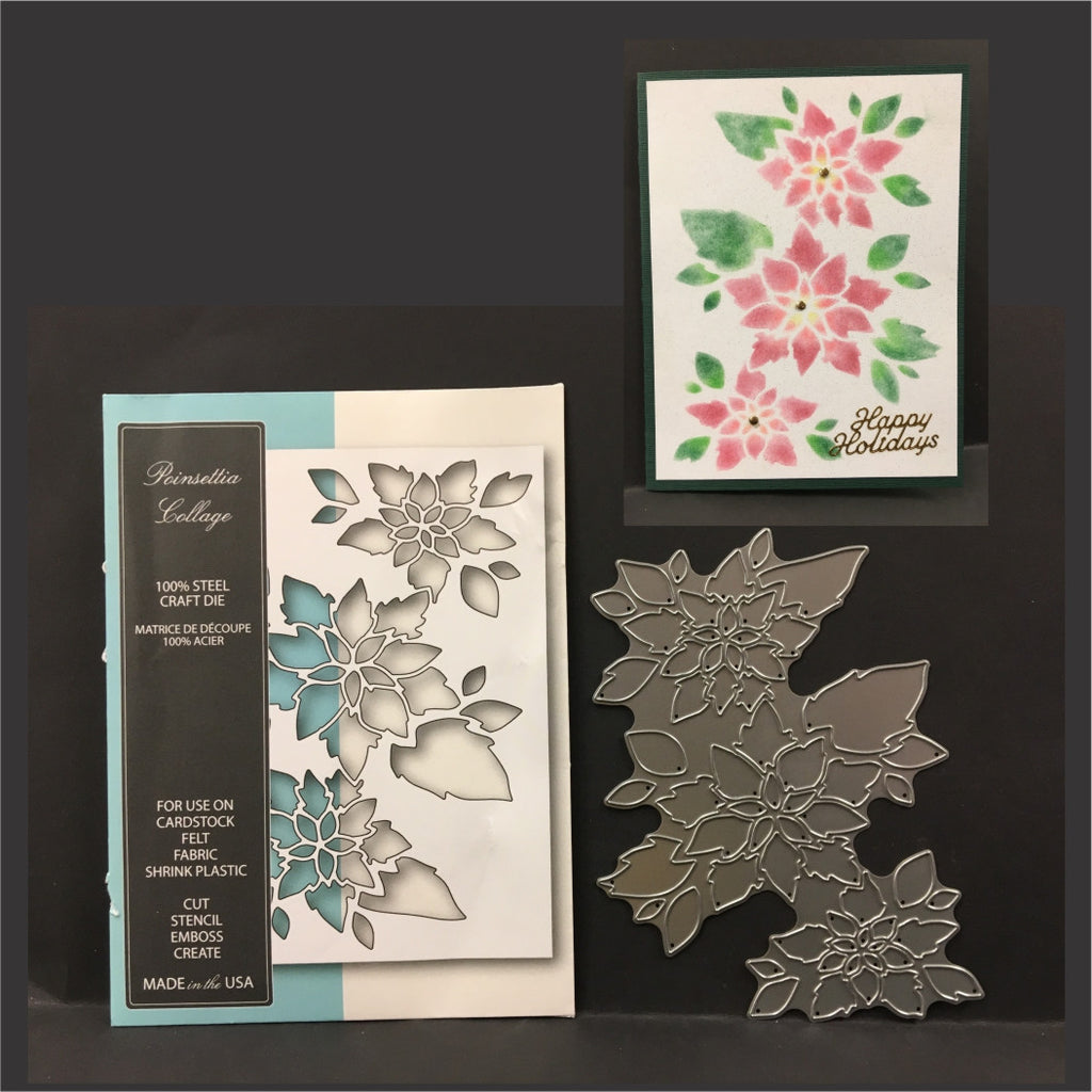 Poinsettia Collage metal die by Memory Box dies 99585